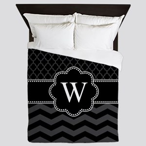 Monogram Black/Gray Chevron Block Queen Duvet