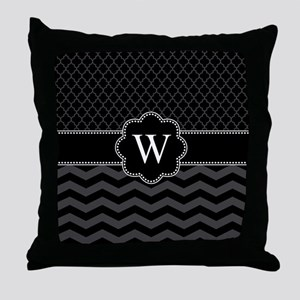 Monogram Black/Gray Chevron Block Throw Pillow