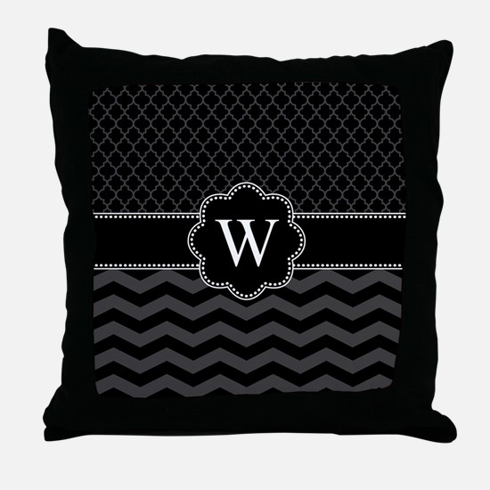 Monogram Black/Gray Chevron Block Throw Pillow
