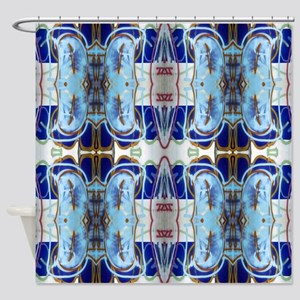 Blue Graffiti Design Shower Curtain