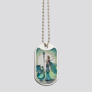 Aquamarine Dragon Fairy Fantasy Art Dog Tags