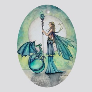 Aquamarine Dragon Fairy Fantasy Art Ornament (Oval