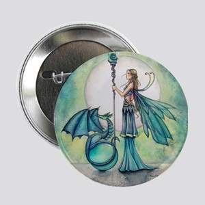 "Aquamarine Dragon Fairy Fantasy Art 2.25"" Button ("