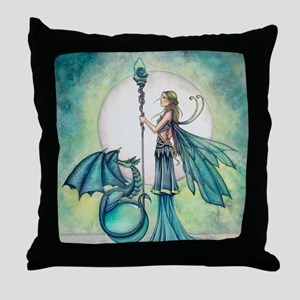 Aquamarine Dragon Fairy Fantasy Art Throw Pillow