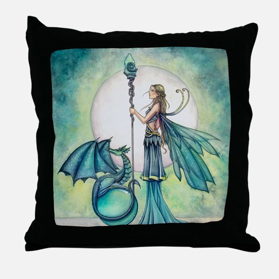 Aquamarine Dragon Fairy Fantasy Art Throw Pillow