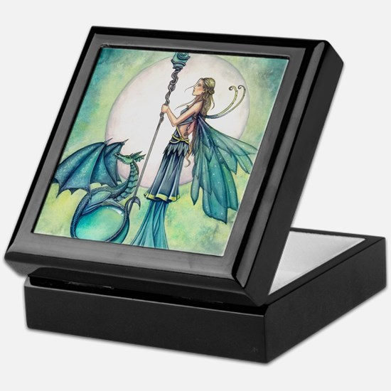 Aquamarine Dragon Fairy Fantasy Art Keepsake Box