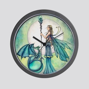 Aquamarine Dragon Fairy Fantasy Art Wall Clock