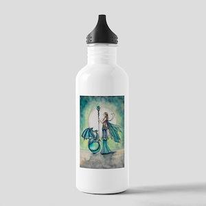 Aquamarine Dragon Fairy Fantasy Art Water Bottle