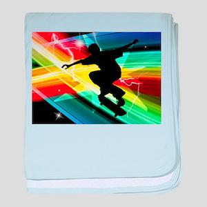 Skateboarder in Criss Cross Lightning baby blanket