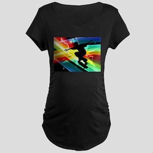 Skateboarder in Criss Cross Ligh Maternity T-Shirt