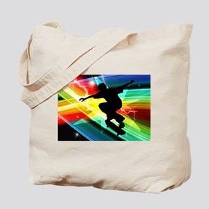 Skateboarder in Criss Cross Lightning Tote Bag