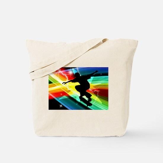 Skateboarder in Criss Cross Lightning.png Tote Bag