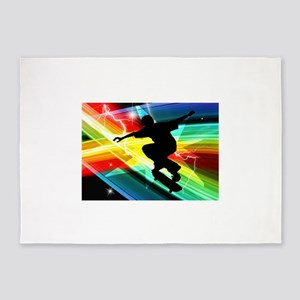 Skateboarder in Criss Cross Lightni 5'x7'Area Rug