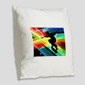 Skateboarder in Criss Cross Li Burlap Throw Pillow