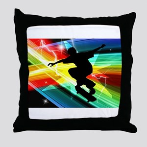Skateboarder in Criss Cross Lightning Throw Pillow