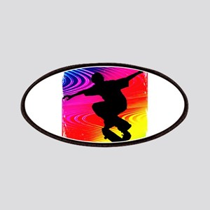 Skateboarding on Rainbow Grunge Background Patches