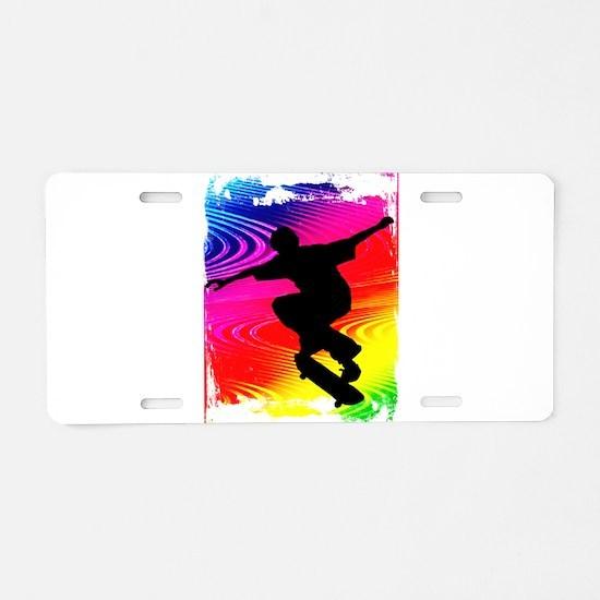 Skateboarding on Rainbow Gr Aluminum License Plate