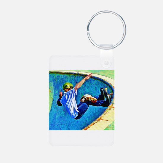 Skateboarding in the Bowl copy Keychains