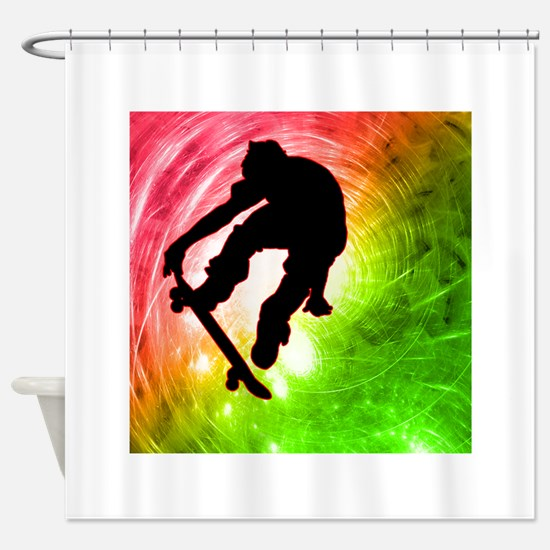 Skateboarder in a Psychedelic Cyclo Shower Curtain