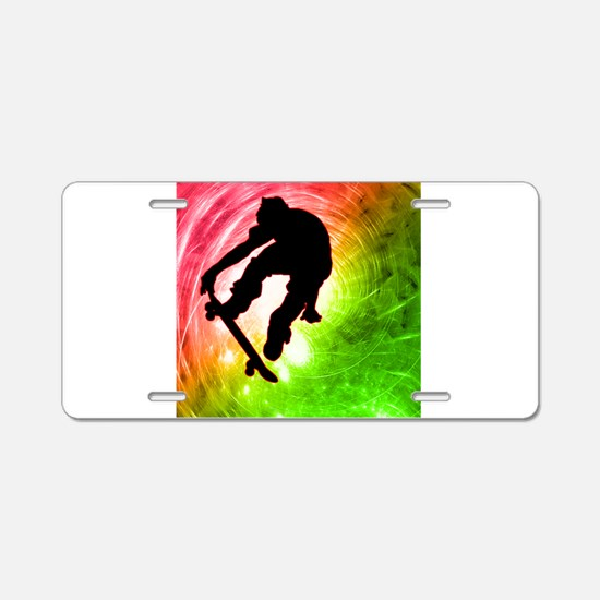 Skateboarder in a Psychedel Aluminum License Plate
