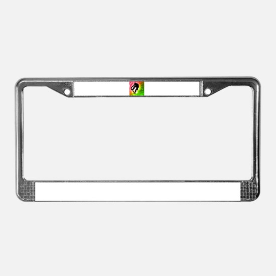 Skateboarder in a Psychedelic License Plate Frame