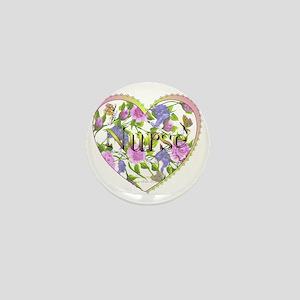 Nurse's Floral Heart Mini Button