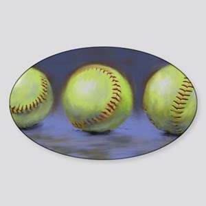 Three Softballs Sticker (Oval)