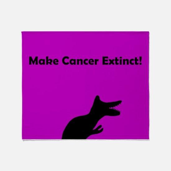 Make Cancer Extinct Purple Dinosaur Throw Blanket