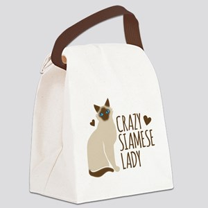 Crazy Siamese CAT lady Canvas Lunch Bag