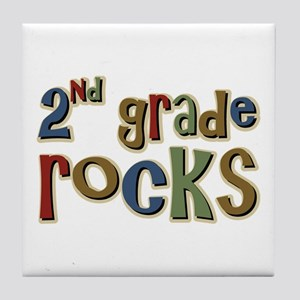 2nd Grade Rocks Second School Tile Coaster