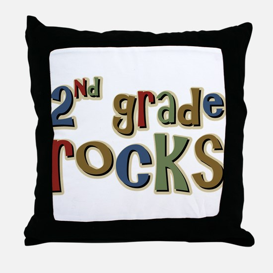 2nd Grade Rocks Second School Throw Pillow