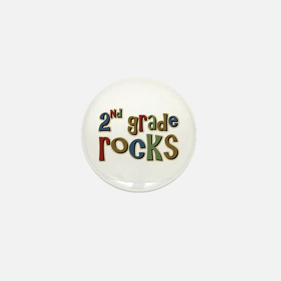 2nd Grade Rocks Second School Mini Button