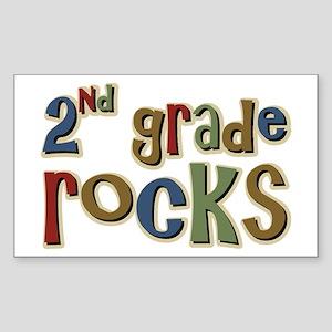 2nd Grade Rocks Second School Sticker (Rectangular