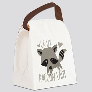 Crazy Racoon Lady Canvas Lunch Bag
