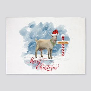 Merry Christmas North Pole Goat 5'x7'Area Rug