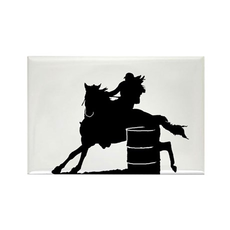 barrel racing silhouette Rectangle Magnet (10 pack