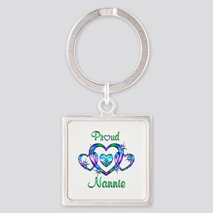 Proud Nannie Square Keychain