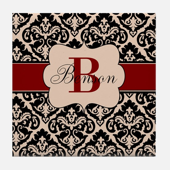 Beige Red Damask Personalized Tile Coaster