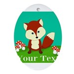 Personalizable Woodland Fox Ornament (Oval)