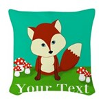 Personalizable Woodland Fox Woven Throw Pillow