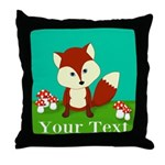 Personalizable Woodland Fox Throw Pillow