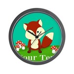 Personalizable Woodland Fox Wall Clock