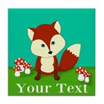 Personalizable Woodland Fox Tile Coaster