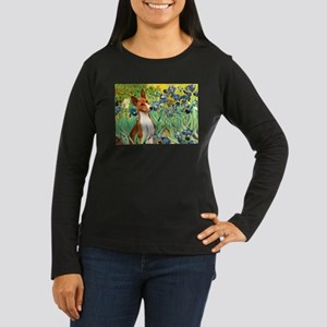 Basenji in Irises Women's Long Sleeve Dark T-Shirt