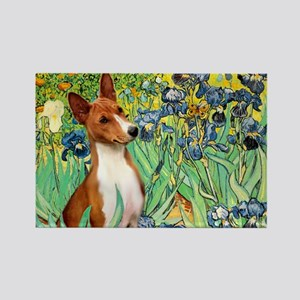 Basenji in Irises Rectangle Magnet