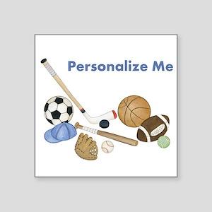 "Personalized Sports Square Sticker 3"" x 3"""