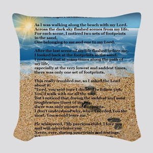 Footprints in the Sand Woven Throw Pillow