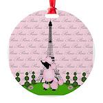 French Poodle Paris Ornament
