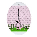 French Poodle Paris Ornament (Oval)