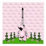 French Poodle Paris Square Car Magnet 3